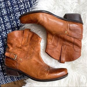 Franco Sarto western style mid ankle cognac boots